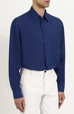 Льняная рубашка с воротником кент | Фото №3