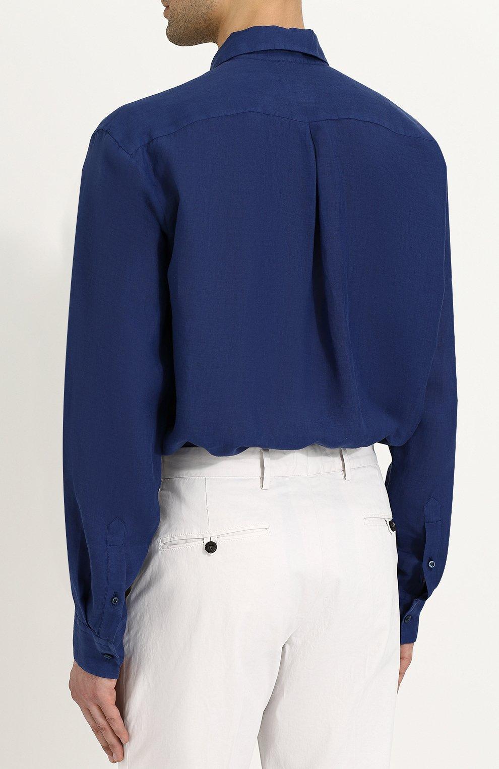 Льняная рубашка с воротником кент | Фото №4