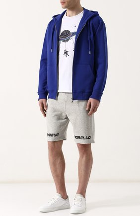 Хлопковые шорты с поясом на кулиске Frankie Morello серые | Фото №1