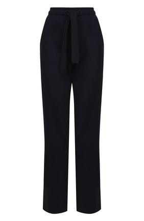 Хлопковые расклешенные брюки с логотипом бренда Moncler темно-синие | Фото №1