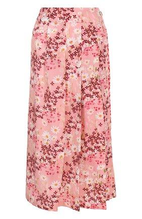 Женская шелковая юбка-миди с цветочным принтом MOTHER OF PEARL розового цвета, арт. 4313 B KENZIE | Фото 1