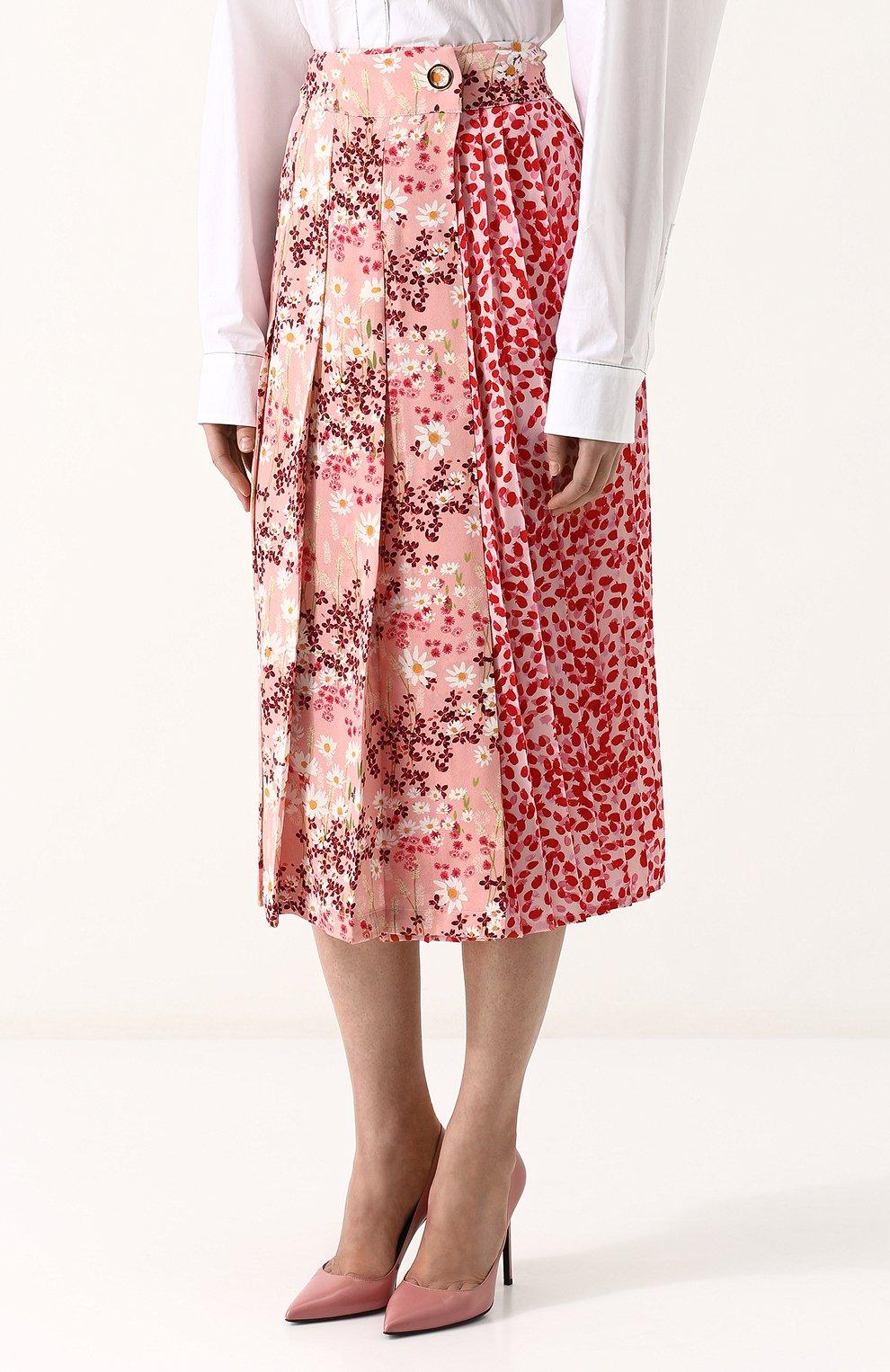 Женская шелковая юбка-миди с цветочным принтом MOTHER OF PEARL розового цвета, арт. 4313 B KENZIE | Фото 3