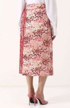 Женская шелковая юбка-миди с цветочным принтом MOTHER OF PEARL розового цвета, арт. 4313 B KENZIE | Фото 4