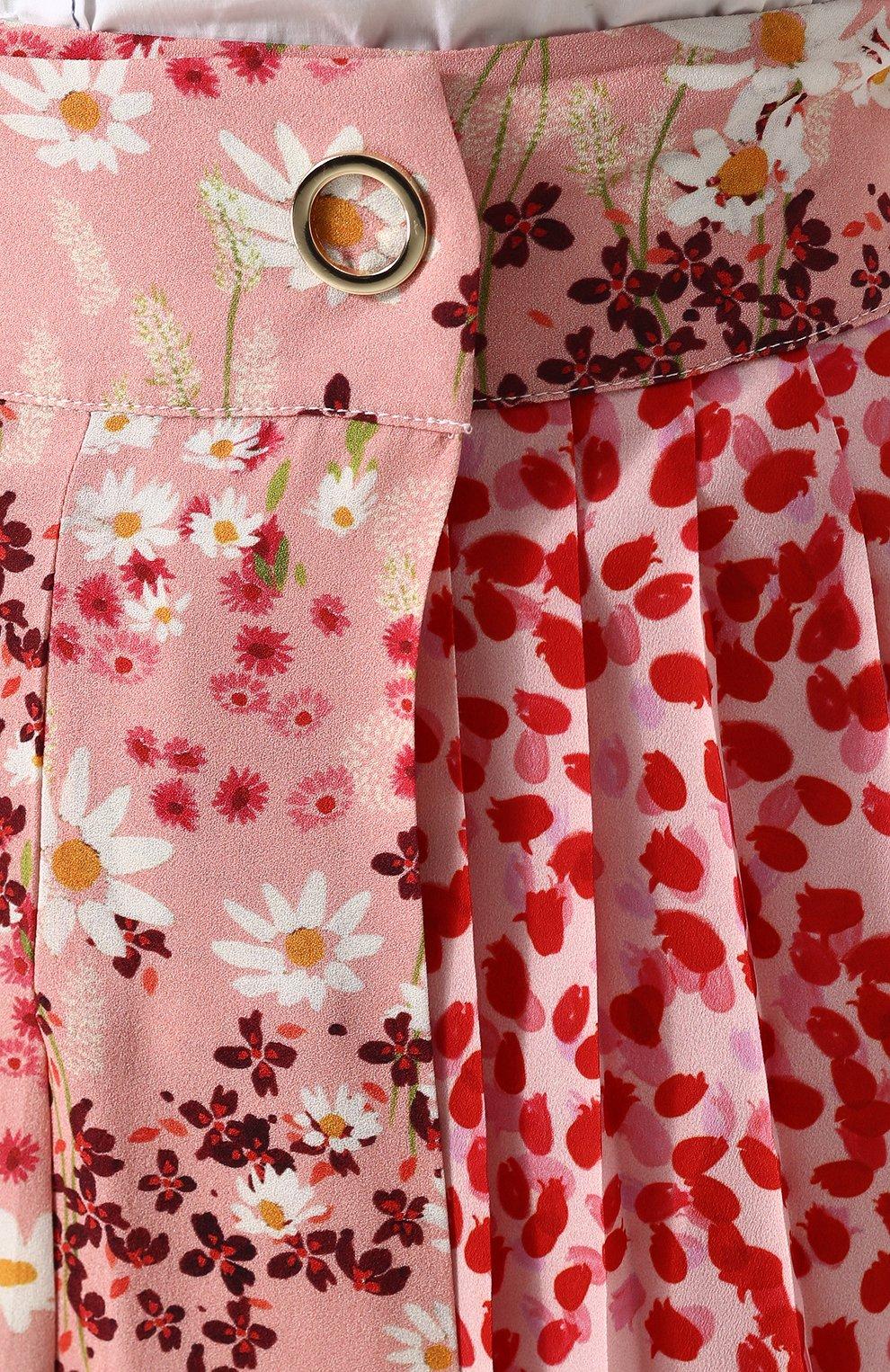Женская шелковая юбка-миди с цветочным принтом MOTHER OF PEARL розового цвета, арт. 4313 B KENZIE | Фото 5