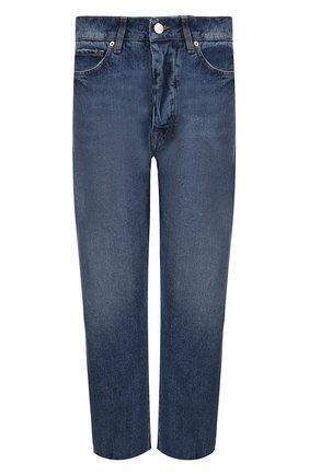 Укороченные джинсы прямого кроя с потертостями