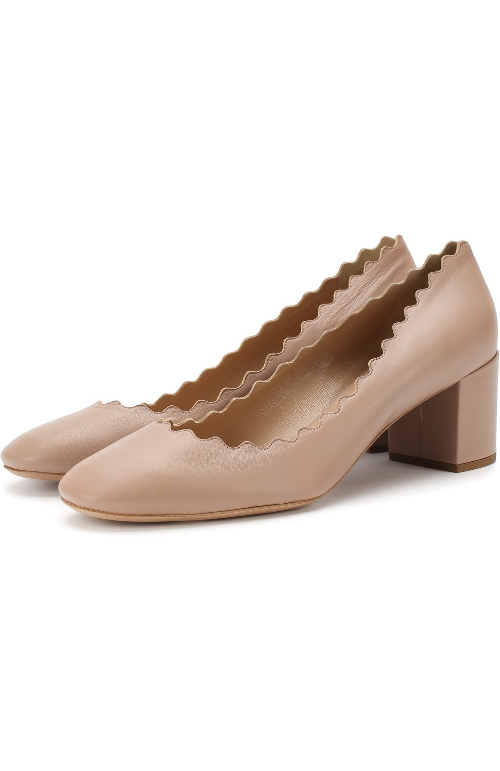 Женские кожаные туфли lauren с фигурным вырезом CHLOÉ бежевого цвета, арт. CHC16A23075   Фото 1