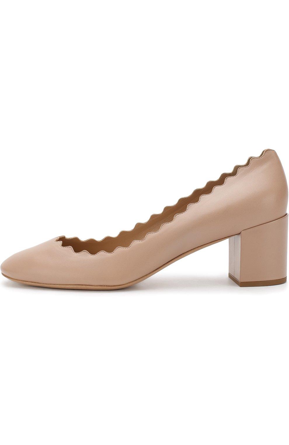 Женские кожаные туфли lauren с фигурным вырезом CHLOÉ бежевого цвета, арт. CHC16A23075   Фото 3