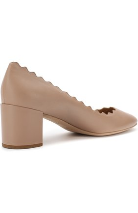 Женские кожаные туфли lauren с фигурным вырезом CHLOÉ бежевого цвета, арт. CHC16A23075   Фото 4