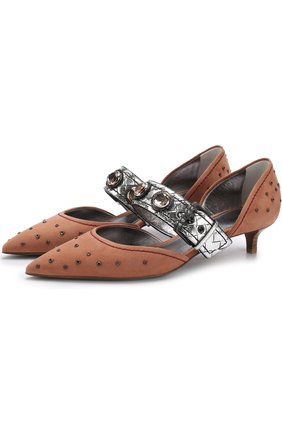 Замшевые туфли с заклепками на каблуке kitten heel | Фото №1