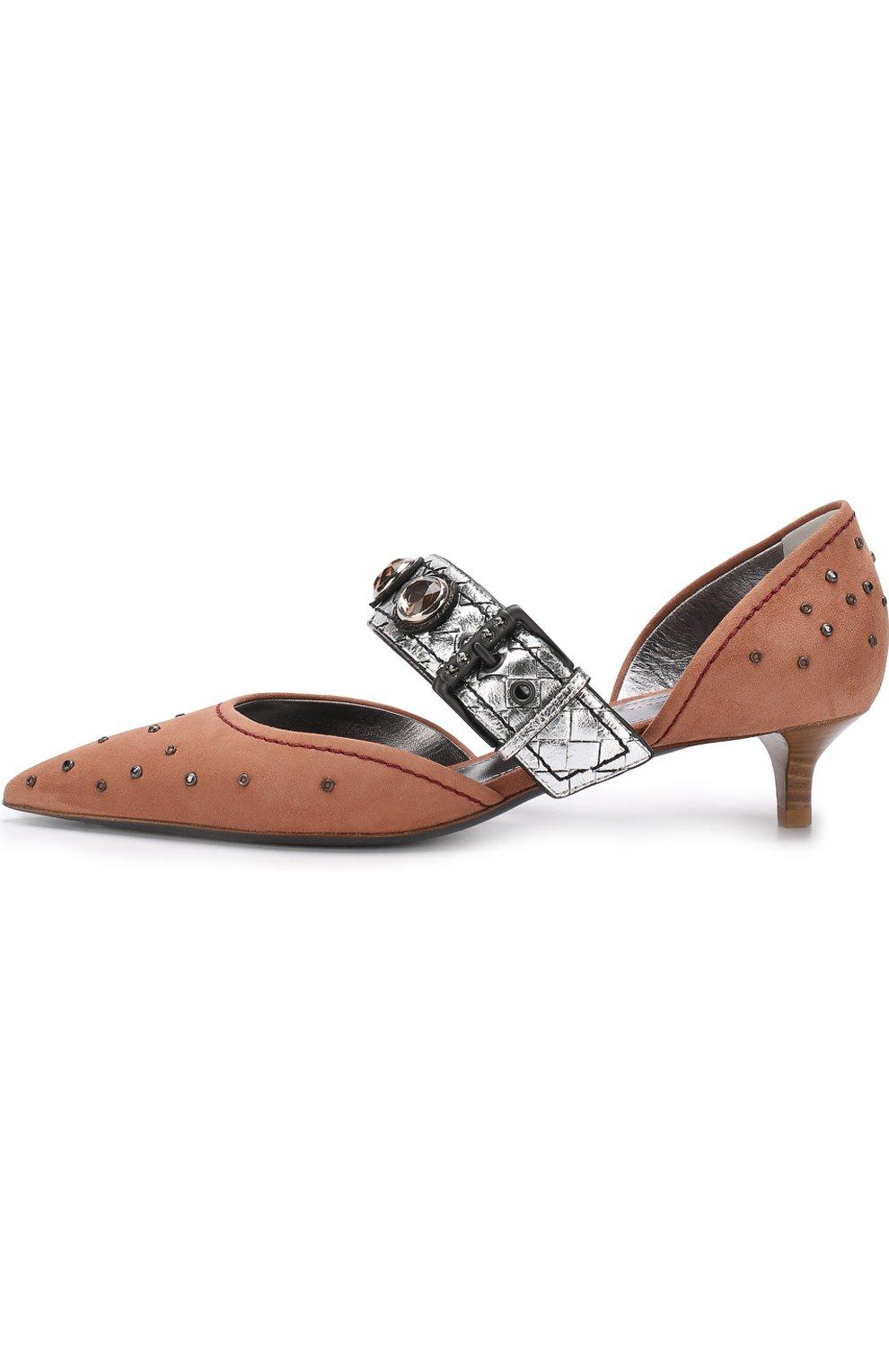 Замшевые туфли с заклепками на каблуке kitten heel | Фото №3
