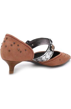 Замшевые туфли с заклепками на каблуке kitten heel | Фото №4