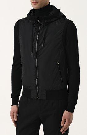 Мужской жилет на молнии с капюшоном DOLCE & GABBANA черного цвета, арт. G9KU0T/FUMQG   Фото 3