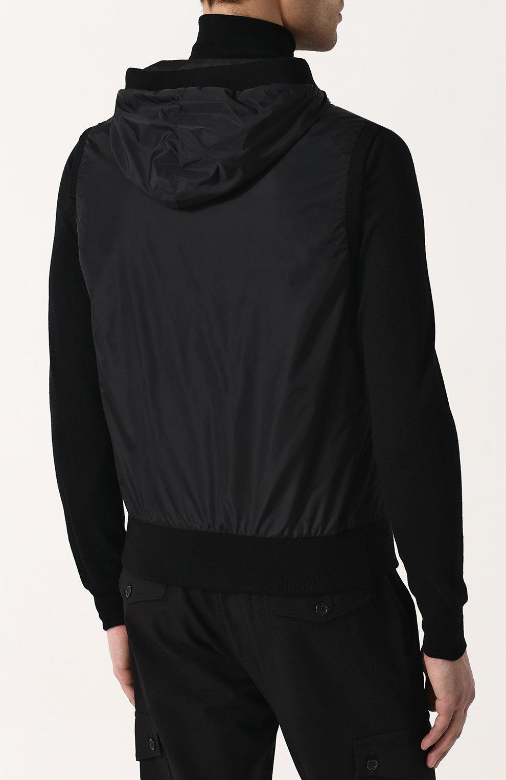 Мужской жилет на молнии с капюшоном DOLCE & GABBANA черного цвета, арт. G9KU0T/FUMQG   Фото 4