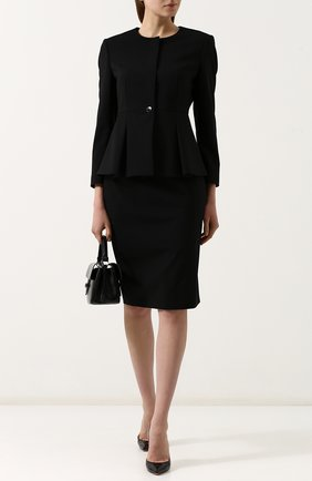 Женская однотонная шерстяная юбка-карандаш BOSS черного цвета, арт. 50385075   Фото 2