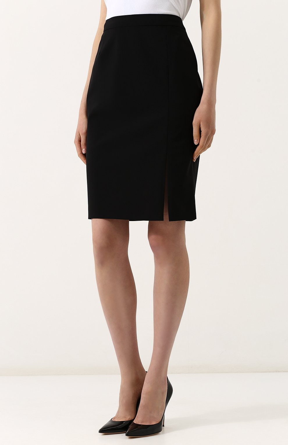 Женская однотонная шерстяная юбка-карандаш BOSS черного цвета, арт. 50385075   Фото 3