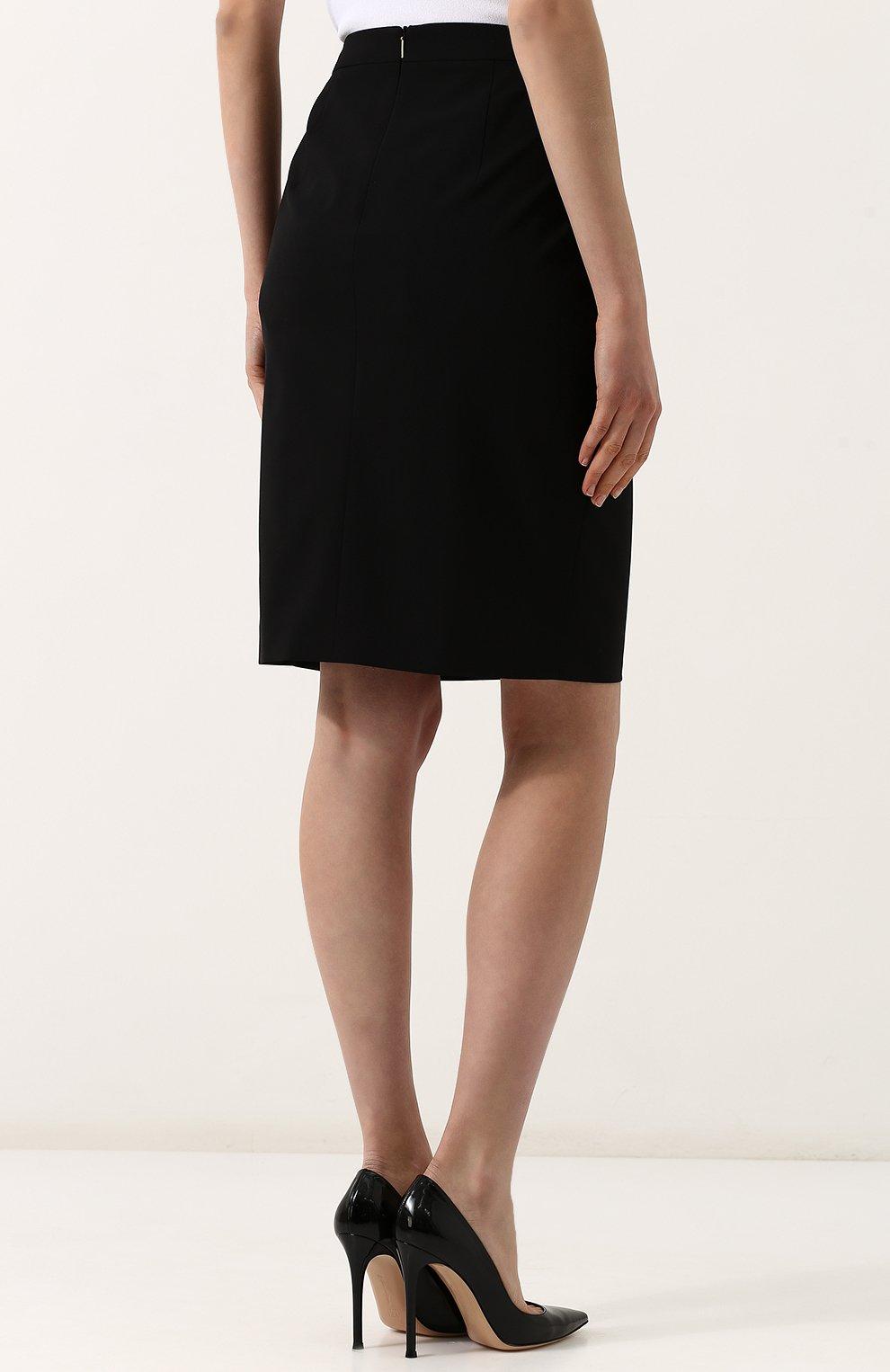 Женская однотонная шерстяная юбка-карандаш BOSS черного цвета, арт. 50385075   Фото 4