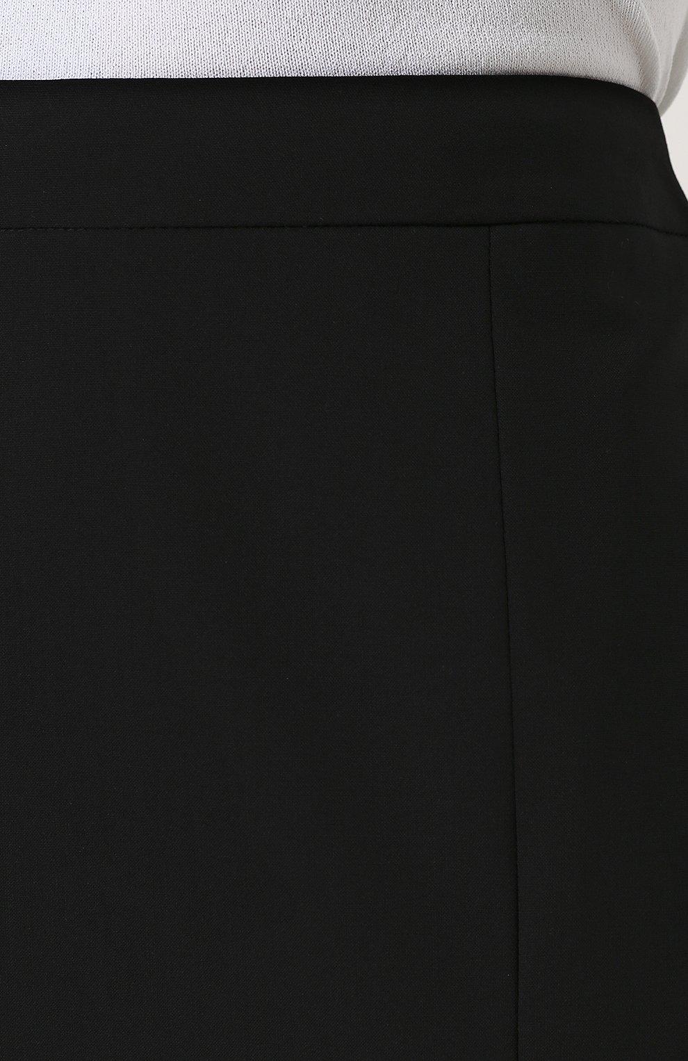 Женская однотонная шерстяная юбка-карандаш BOSS черного цвета, арт. 50385075   Фото 5