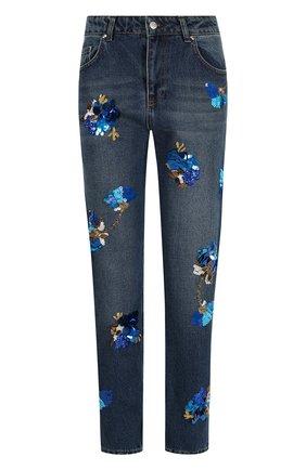 Джинсы прямого кроя с контрастной вышивкой Dalood синие   Фото №1