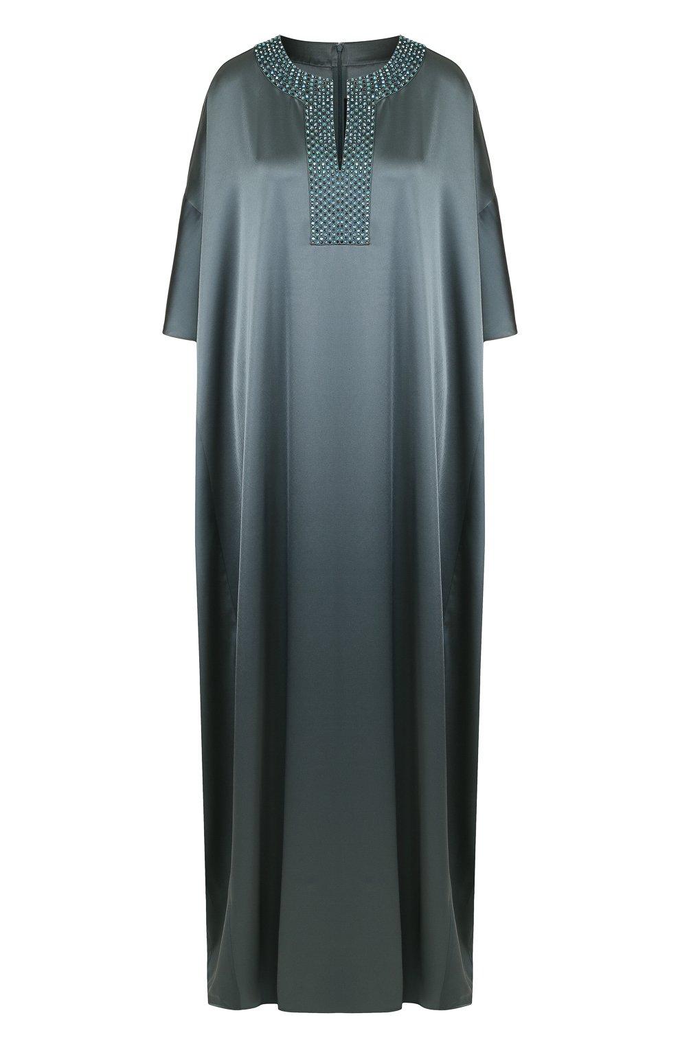 Платье-макси свободного кроя с декорированным вырезом   Фото №1