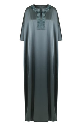 Платье-макси свободного кроя с декорированным вырезом St. John зеленое   Фото №1