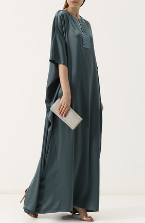 Платье-макси свободного кроя с декорированным вырезом St. John зеленое   Фото №2