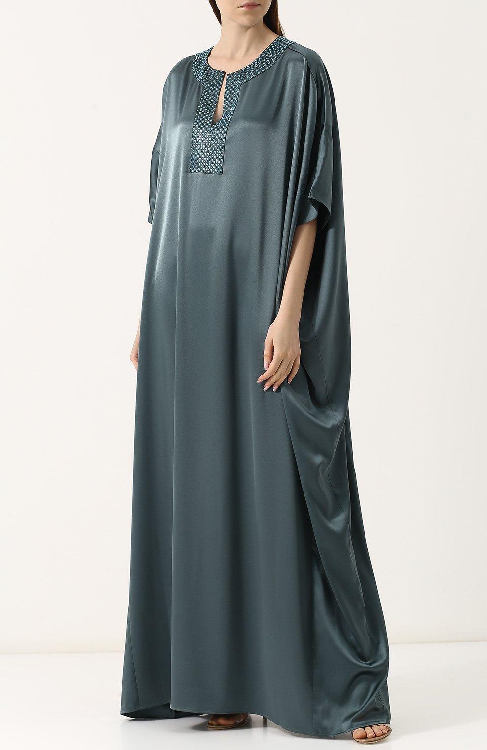 Платье-макси свободного кроя с декорированным вырезом St. John зеленое   Фото №3