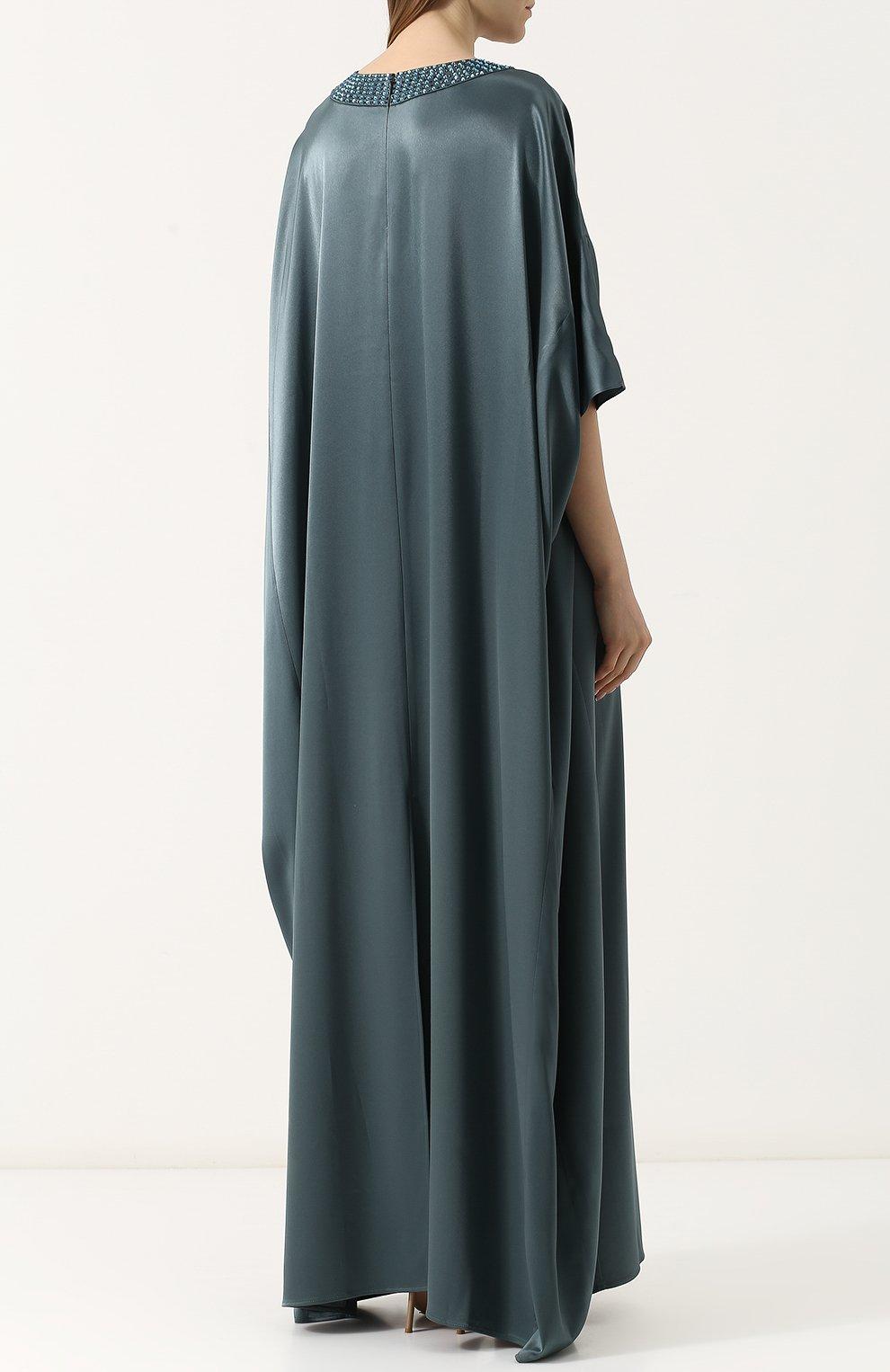 Платье-макси свободного кроя с декорированным вырезом St. John зеленое   Фото №4