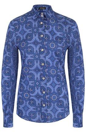 Хлопковая приталенная блуза с принтом | Фото №1