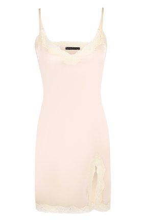 Шелковая сорочка с кружевной отделкой Vannina Vesperini светло-розовая | Фото №1