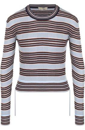 Шелковый пуловер в полоску с круглым вырезом