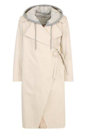 Хлопковое пальто с контрастным капюшоном   Фото №1