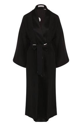Однотонное шелковое пальто с поясом | Фото №1