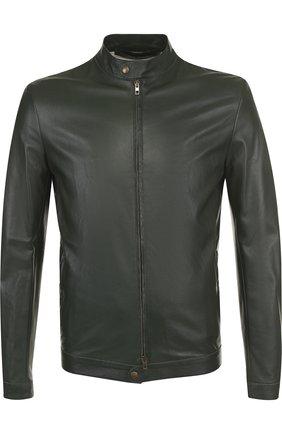 Кожаная куртка на молнии с воротником-стойкой Salvatore Santoro черная | Фото №1