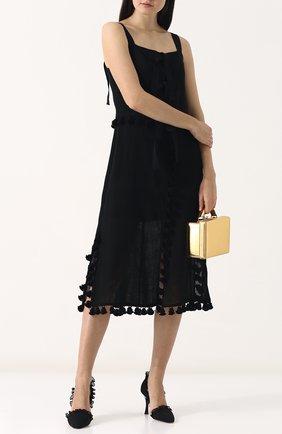 Приталенное платье-миди из льна Altuzarra черное   Фото №1
