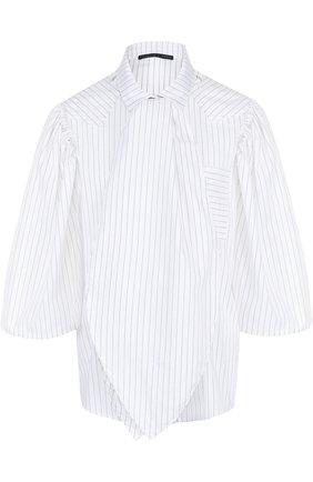 Женская хлопковая блуза свободного кроя с воротником аскот Victoria/Tomas, цвет черно-белый, арт. 18_SHI_2 в ЦУМ   Фото №1