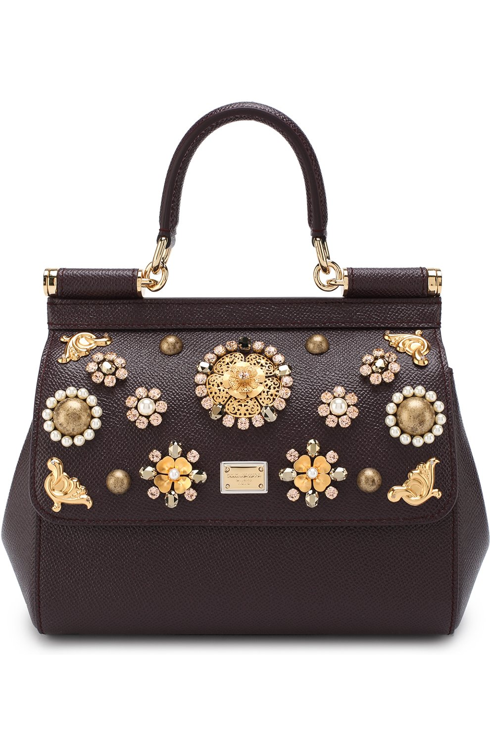 Женская сумка sicily small с аппликациями DOLCE & GABBANA бордового цвета, арт. BB6003/B5230 | Фото 1