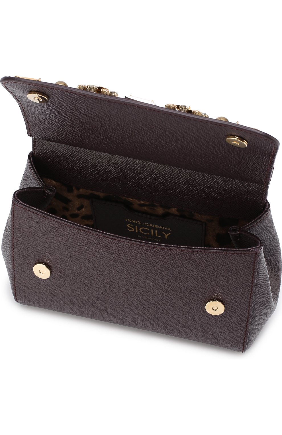 Женская сумка sicily small с аппликациями DOLCE & GABBANA бордового цвета, арт. BB6003/B5230 | Фото 4