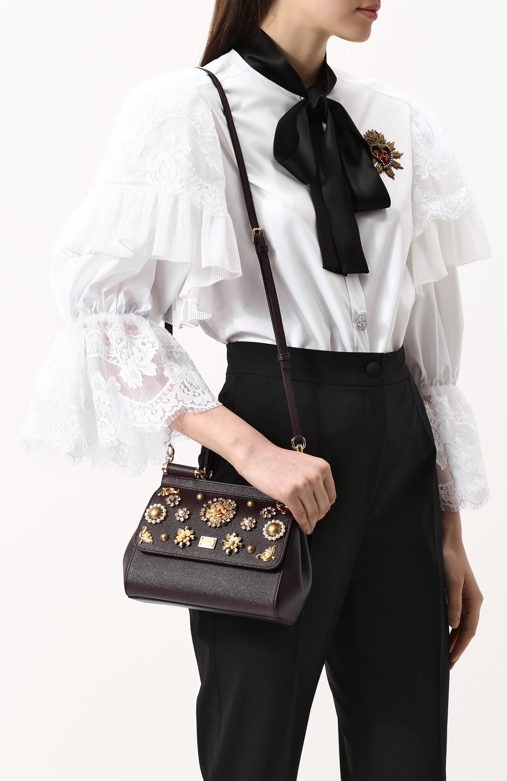 Женская сумка sicily small с аппликациями DOLCE & GABBANA бордового цвета, арт. BB6003/B5230 | Фото 5