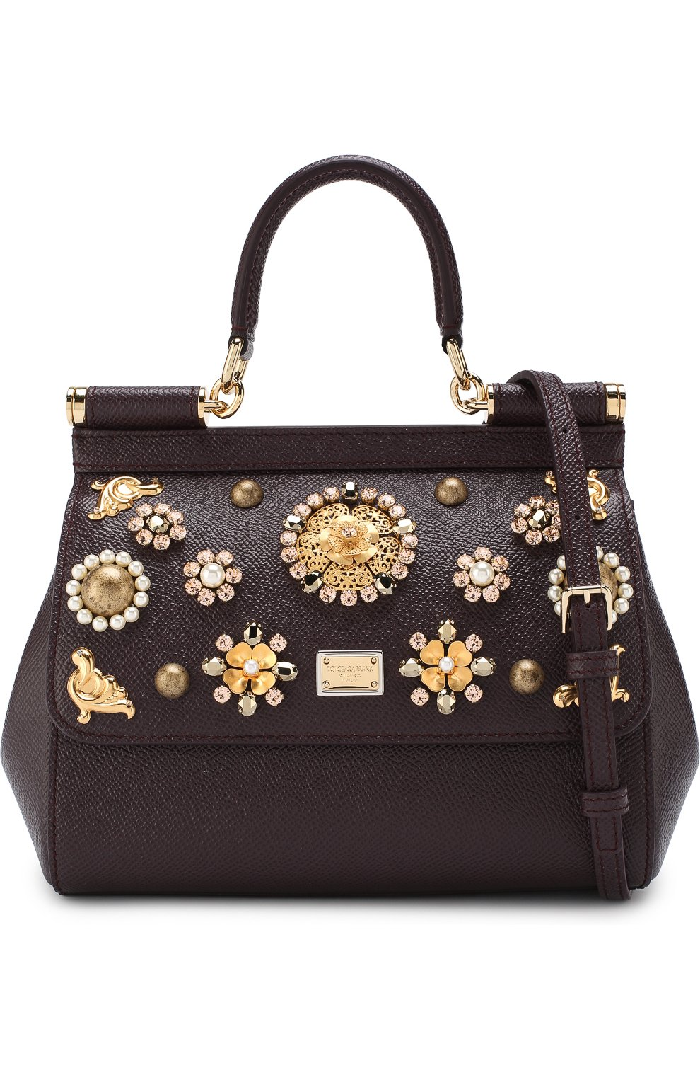Женская сумка sicily small с аппликациями DOLCE & GABBANA бордового цвета, арт. BB6003/B5230 | Фото 6