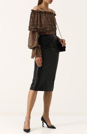 Женская кожаные туфли opyum на фигурной шпильке SAINT LAURENT черного цвета, арт. 484160/0N0UU | Фото 2