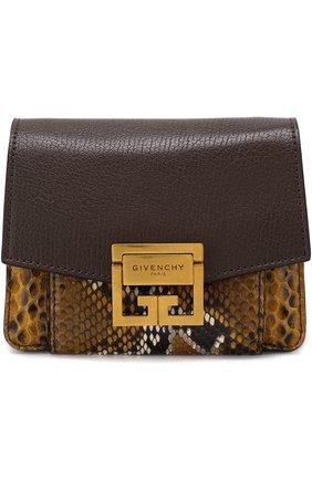 Женская сумка gv3 из кожи питона GIVENCHY коричневого цвета, арт. BB501BB03P | Фото 1