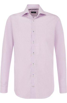 Хлопковая сорочка с воротником кент Van Laack розовая | Фото №1