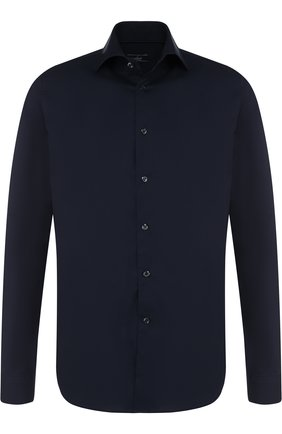 Хлопковая сорочка с воротником кент Van Laack темно-синяя | Фото №1