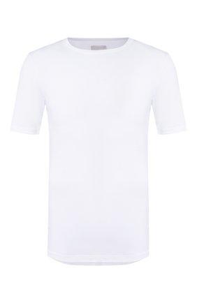 Мужская хлопковая футболка с круглым вырезом HANRO белого цвета, арт. 073174 | Фото 1 (Длина (для топов): Стандартные; Рукава: Короткие; Материал внешний: Хлопок; Мужское Кросс-КТ: Футболка-белье; Статус проверки: Проверена категория; Кросс-КТ: домашняя одежда)