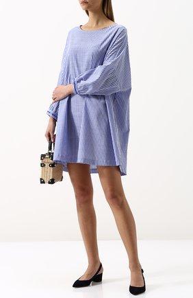 Хлопковое мини-платье свободного кроя с круглым вырезом Van Laack синее | Фото №1