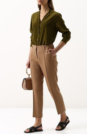 Женская однотонная шелковая блуза с v-образным вырезом Van Laack, цвет серый, арт. LOU_155553_SS18 в ЦУМ | Фото №1