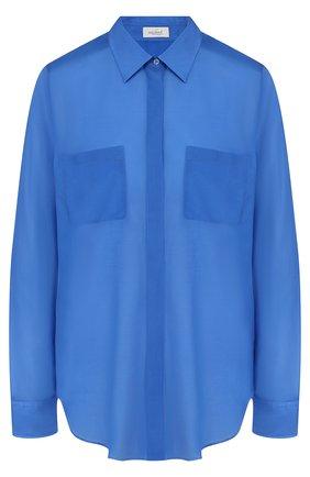 Женская однотонная блуза свободного кроя с накладными карманами Van Laack, цвет синий, арт. LUZYNDA_160943_SS18 в ЦУМ | Фото №1