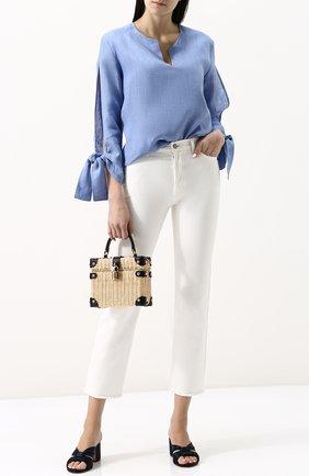 Женская однотонная льняная блуза свободного кроя с бантами Van Laack, цвет голубой, арт. MEG_155038_SS18 в ЦУМ | Фото №1