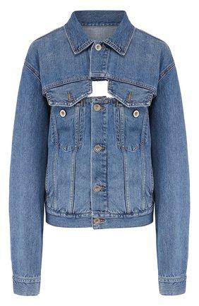 Джинсовая куртка с потертостями и принтованной спинкой Ben Taverniti Unravel Project синяя | Фото №1