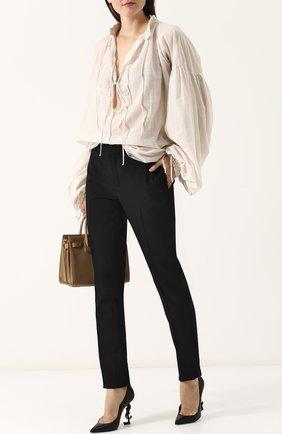 Женская кожаные туфли opyum на фигурном каблуке SAINT LAURENT черного цвета, арт. 472011/0N0UU | Фото 2